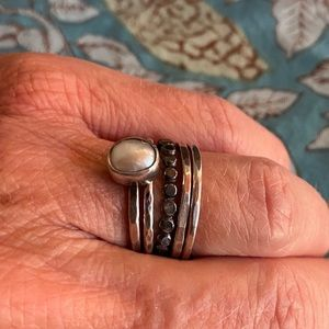 Artisan Pearl and 4 Silver Stacking Rings